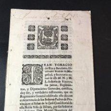 Documentos antiguos: REGIMIENTO DE VIZCAYA. 1743. CONTRA JOSEPH ZAVALA, QUE PRETENDÍA TRASLADAR COMERCIO A CASTRO URDIA. Lote 140134294