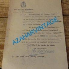 Documentos antiguos: SEMANA SANTA SEVILLA,1944, ADMISION HERMANO HERMANDAD ROSARIO DE SAN VICENTE. Lote 140145722