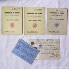 Documentos antiguos: 3 CARTAS DE IDENTIDAD ESCOLAR + CARNET BIBLIOTECA+TARJETA ANTIRÁBICA UNIVERSIDAD DE MADRID 1951-1960. Lote 140180434