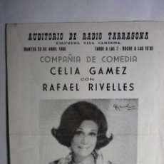 Documentos antiguos: PROGRAMA DOBLE AUDITORIO RADIO TARRAGONA -1968 CIA.COMEDIA CELIA GAMEZ Y RAFAEL RIVELLES. Lote 140224606
