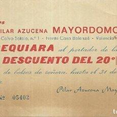 Documentos antiguos: == PA02 - VALE DESCUENTO DE CALZADOS MAYORDOMO - VALENCIA. Lote 140230714