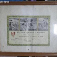 Documentos antiguos: DIPLOMA PRIMER PREMIO. CONCURSO NACIONAL DE GANADOS. ASOCIACIÓN GENERAL DE GANADEROS DEL REINO.. Lote 140366330