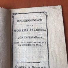 Documentos antiguos: CORRESPONDENCIA CAMBIO MONEDA FRANCESA Y ESPAÑOLA 1808 MALAGA RARO GUERRA INDEPENDENCIA. Lote 140392325