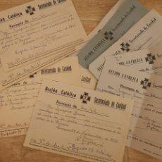 Documentos antiguos: LOTE DE 10 RECIBOS DE ACCION CATÓLICA, ZARAGOZA, AÑOS 40-50. Lote 140412114