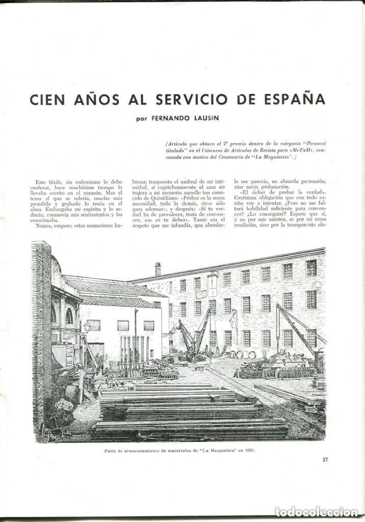 Documentos antiguos: REVISTA-LA MAQUINISTA TERRESTRE Y MARÍTIMA- SAN ANDRES DE PALOMAR- 1956 - Foto 6 - 140454634