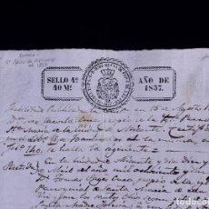 Documentos antiguos: ALICANTE. PARTIDA DE BAUTISMO 1837. TIMBROLOGÍA, SELLOS Y FIRMAS.. Lote 140623378
