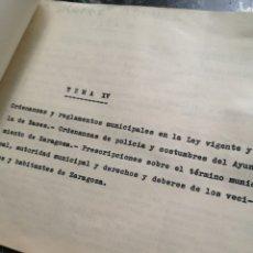 Documentos antiguos: ORDENANZAS Y REGLAMENTOS MUNICIPALES, AYTO ZARAGOZA, 1940'S, 7 PAGINAS. Lote 140732833