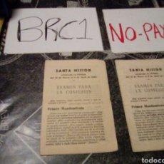 Documentos antiguos: LOTE 2 PAPELES TIPO TRÍPTICO RELIGIOSO 10 MANDAMIENTOS EDITORIAL CATOLICA 1962 VITORIA SANTA MISIÓN. Lote 140808570