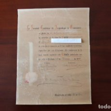 Documentos antiguos: DOCUMENTO SOCIEDAD CORDOBESA DE ARQUEOLOGIA Y EXCURSIONES - FIRMADO MARQUES DE ESCALONIAS 1919. Lote 140867470