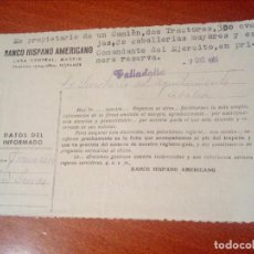 Documentos antiguos: HOJA INFORMATIVA,SOBRE CLIENTE,BANCO HISPANO AMERICANO.VALLADOLID 1951.. Lote 140899902