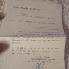Documentos antiguos: HOJA INFORMATIVA,SOBRE CLIENTE,BANCO ESPAÑOL DE CREDITO.TORO-ZAMORA- VALLADOLID 1953.. Lote 140901618