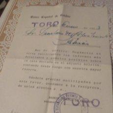 Documentos antiguos: HOJA INFORMATIVA,SOBRE CLIENTE,BANCO ESPAÑOL DE CREDITO. TORO-ZAMORA-1953.. Lote 140902102