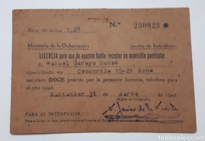 SANTANDER. LICENCIA PARA USO DE APARATO RADIO-RECEPTOR EN DOMICILIO PARTICULAR. 1942 (Coleccionismo - Documentos - Otros documentos)