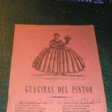Documentos antiguos: PLIEGO DE CORDEL - GUAGIRAS DEL PINTOR , AMERICANA BOULANGER , LA MARCHA DE CADIZ , CHOTIS DE LA . Lote 140973142