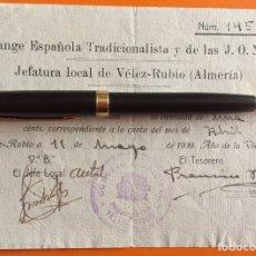 Documentos antiguos: VELEZ RUBIO- ALMERIA- FALANGE- GUERRA CIVIL 1.939. Lote 140969582