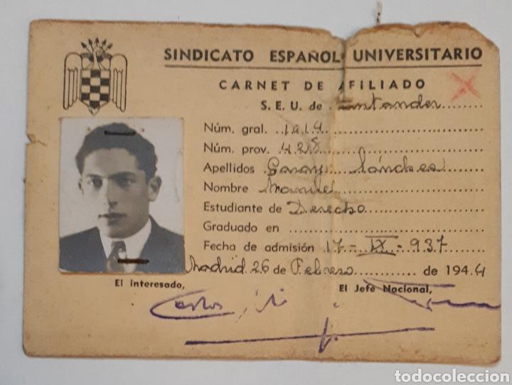 SINDICATOESPAÑOL UNIVERSITARIO. CARNET DE AFILIADO.1944 (Coleccionismo - Documentos - Otros documentos)