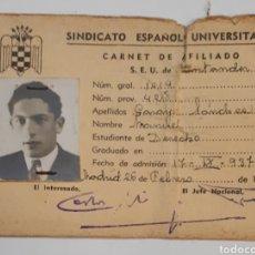 Documentos antiguos: SINDICATOESPAÑOL UNIVERSITARIO. CARNET DE AFILIADO.1944. Lote 141149548