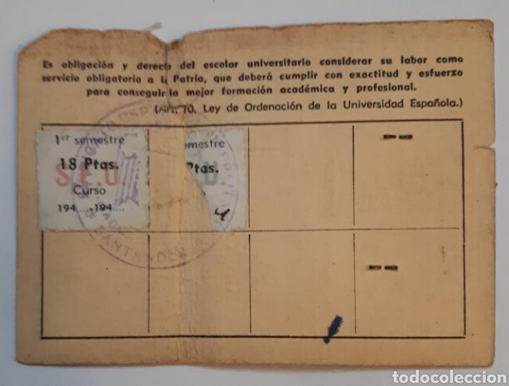 Documentos antiguos: SindicatoEspañol Universitario. Carnet de afiliado.1944 - Foto 2 - 141149548