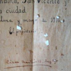 Documentos antiguos: PLANOS ORIGINALES ARQUITECTURA CÉSAR MARTINELL 1916. Lote 141196662