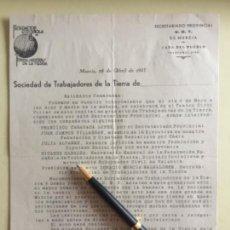 Documentos antiguos: MURCIA- UGT- CASA DEL PUEBLO- TRABAJADORES DE LA TIERRA- GUERRA CIVIL 1.937. Lote 141215182