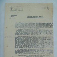 Documentos antiguos: SINDICATO VERTICAL FALANGE : CARTA A DELEGACION PROVINCIAL TRABAJADORES DEL TEXTIL. SEVILLA, 1952. Lote 141448518
