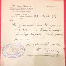 Documentos antiguos: ANTIGUA RECETA DEL DR. JUAN CISNEROS. FARMACIA MADARIAGA 1925. Lote 141458590
