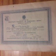 Documentos antiguos: INSTITUTO NACIONAL AUSIAS MARCH BARCELONA TITULO DIPLOMA BACHILLER 1957. Lote 141489017