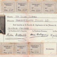 Documenti antichi: ANTIGUO CARNET DEL ASPIRANTE DE LAS JÓVENES DE ACCIÓN CATÓLICA. 1941 SANTOS JUANES VALENCIA. CB. Lote 141683482