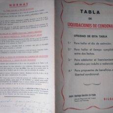 Documentos antiguos: TABLA DE LIQUIDACIONES DE CONDENA. BILBAO REPRESIÓN CÁRCELES FRANQUISTAS. DEDICATORIA 1962. Lote 141761054
