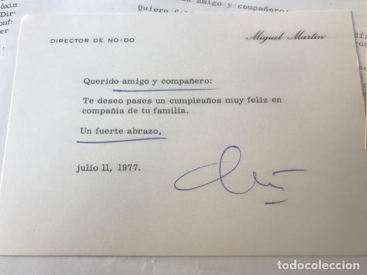 Documentos antiguos: GRAN LOTE DE DOCUMENTOS Y CARTAS DEL DIRECTOR DEL NO-DO MIGUEL MARTIN 1977. VER FOTOS ANEXAS. - Foto 3 - 141811934