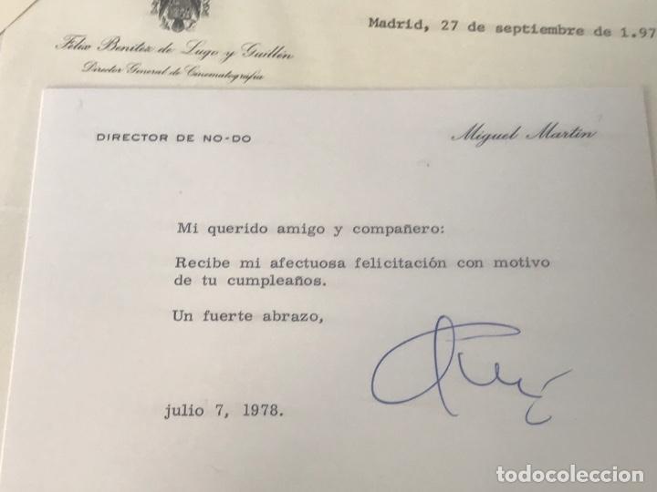 Documentos antiguos: GRAN LOTE DE DOCUMENTOS Y CARTAS DEL DIRECTOR DEL NO-DO MIGUEL MARTIN 1977. VER FOTOS ANEXAS. - Foto 7 - 141811934