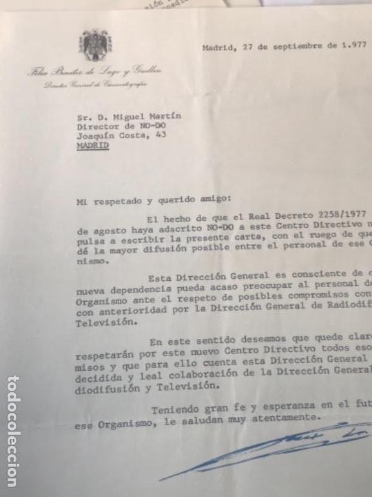 Documentos antiguos: GRAN LOTE DE DOCUMENTOS Y CARTAS DEL DIRECTOR DEL NO-DO MIGUEL MARTIN 1977. VER FOTOS ANEXAS. - Foto 10 - 141811934