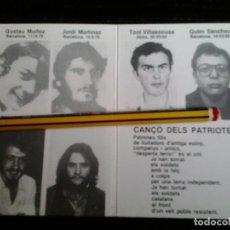 Documentos antiguos: DOCUMENTO POLITICO TARJETA CARTON MOVIMENT DE DEFENSA DE LA TERRA HOMENAJE 1986. Lote 142089342