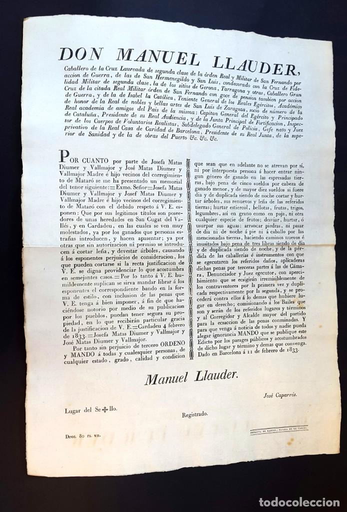 DON MANUEL LLAUDER - BARCELONA - 1833 (Coleccionismo - Documentos - Otros documentos)