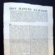 Documentos antiguos: DON MANUEL LLAUDER - BARCELONA - 1833 . Lote 142325378