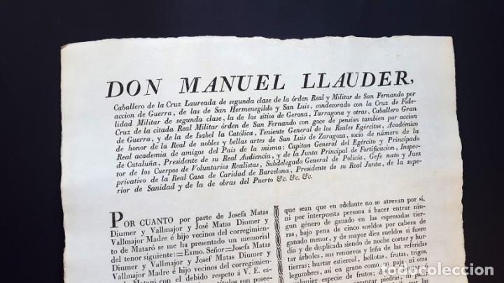 Documentos antiguos: DON MANUEL LLAUDER - BARCELONA - 1833 - Foto 2 - 142325378