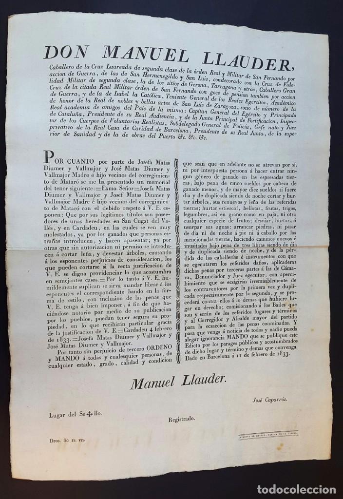 Documentos antiguos: DON MANUEL LLAUDER - BARCELONA - 1833 - Foto 3 - 142325378