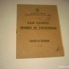Documentos antiguos: CAJA NACIONAL DE SEGURO DE ENFERMEDAD . CARTILLA DE IDENTIDAD 1937.. Lote 142347174