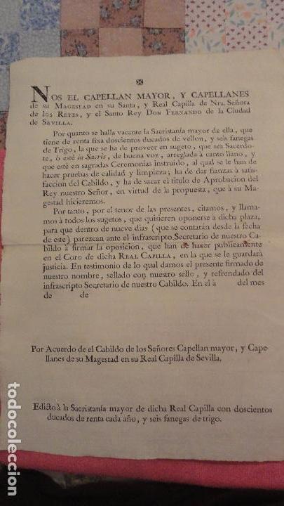 ANTIGUO EDICTO.CAPELLAN MAYOR.REAL CAPILLA NUESTRA SEÑORA DE LOS REYES.SEVILLA SIGLO XVIII? (Coleccionismo - Documentos - Otros documentos)
