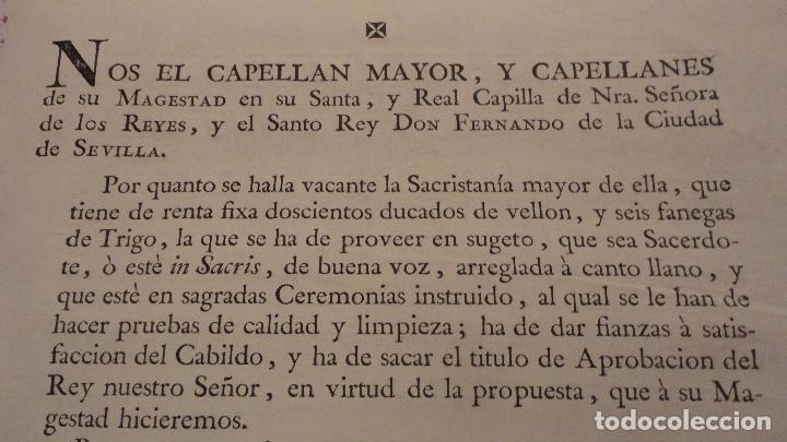 Documentos antiguos: ANTIGUO EDICTO.CAPELLAN MAYOR.REAL CAPILLA NUESTRA SEÑORA DE LOS REYES.SEVILLA SIGLO XVIII? - Foto 2 - 142468366