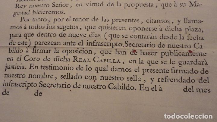 Documentos antiguos: ANTIGUO EDICTO.CAPELLAN MAYOR.REAL CAPILLA NUESTRA SEÑORA DE LOS REYES.SEVILLA SIGLO XVIII? - Foto 3 - 142468366