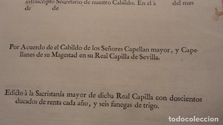 Documentos antiguos: ANTIGUO EDICTO.CAPELLAN MAYOR.REAL CAPILLA NUESTRA SEÑORA DE LOS REYES.SEVILLA SIGLO XVIII? - Foto 4 - 142468366