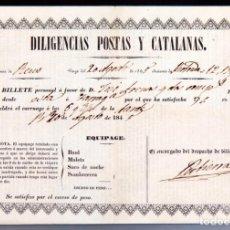 Documentos antiguos: DILIGENCIAS POSTAS Y CATALANAS - BILLETE - 1845 - REUS. Lote 142679430