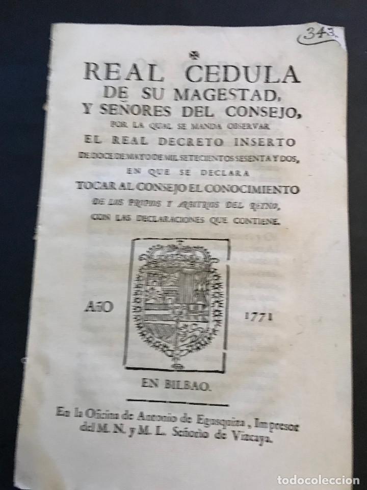 PASE FORAL. SEÑORÍO DE VIZCAYA. AÑO 1771. (Coleccionismo - Documentos - Otros documentos)