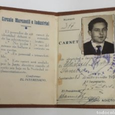 Documentos antiguos: SANTANDER. CARNET CIRCULO MERCANTIL E INDUSTRIAL. 1950. Lote 142735662