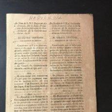 Documentos antiguos: GUERRA INDEPENDENCIA. GOBIERNO DE ALAVA, GUIPÙZCOA Y VIZCAYA POR EL GENERAL THOUVENOT. AÑO 1810.. Lote 142802510