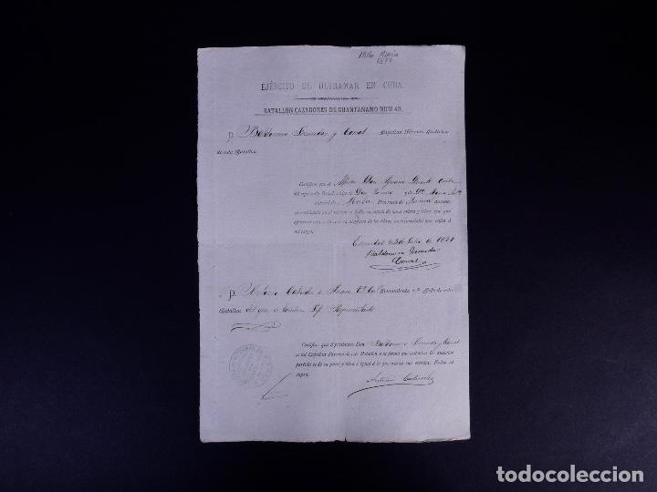 EJÉRCITO DE ULTRAMAR GUANTANAMO, EN CUBA. MULA, MURCIA 1877 (Coleccionismo - Documentos - Otros documentos)