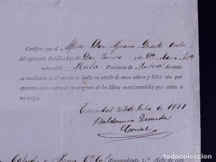 Documentos antiguos: EJÉRCITO DE ULTRAMAR GUANTANAMO, EN CUBA. MULA, MURCIA 1877 - Foto 2 - 142913422