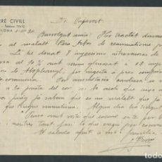 Documentos antiguos: CARTA DOCTOR J. FARRE CIVILL AÑO 1934 FIRMADA BARCELONA . Lote 142930182