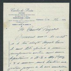 Documentos antiguos: CARTA DOCTOR CARLES DE PORTA AÑO 1933 FIRMADA VILAFRANCA DEL PENEDES GINECOLOGIA Y PARTOS. Lote 142931378